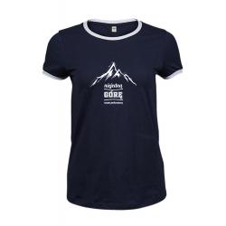 Koszulka damska granatowa z białą lamówką